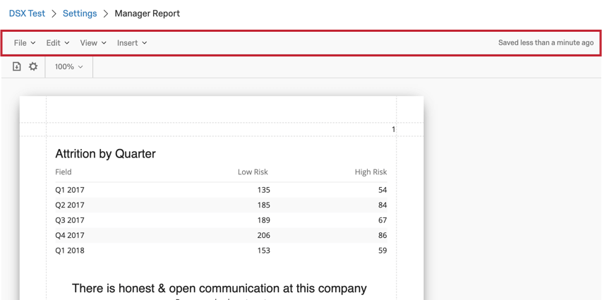image of the toolbar at at the top of a report template
