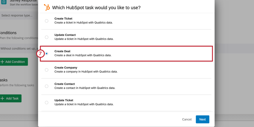 image of the hubspot task selection screen where you choose what you'd like to accomplish in hubspot