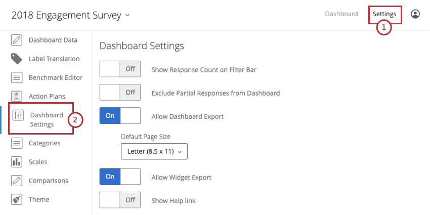 image of the dashboard settings tab