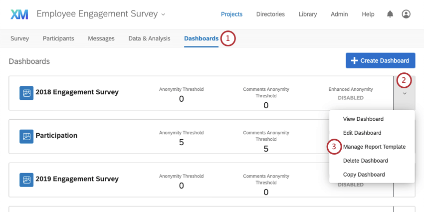 image of the dashboards tab. The dropdown arrow next to a dashboard has been expanded to show the manage report template option.