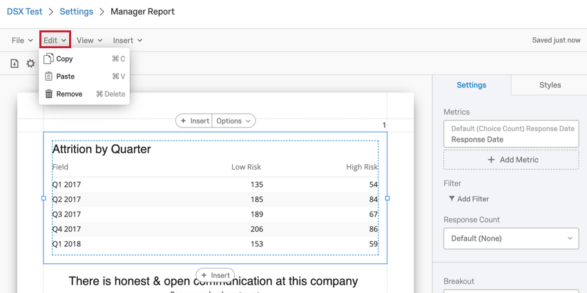 image of the edit dropdown in the report toolbar