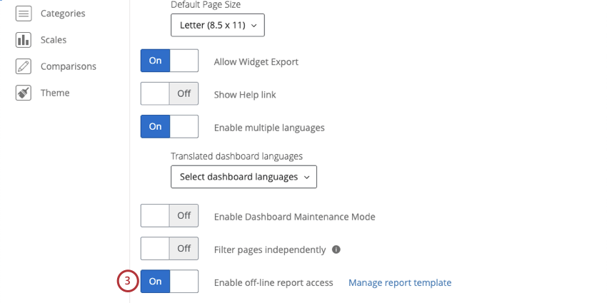 image of the Enable off-line report access option in dashboard settings. It is at the bottom of the list of options