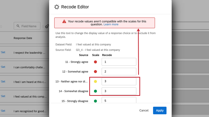 """the recode editor with the """"your recode values aren't compatible with the scales for this question"""" error"""