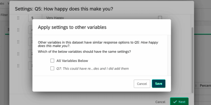 "the ""apply settings to other variables"" popup where you select to recode other variables with your current recodes"