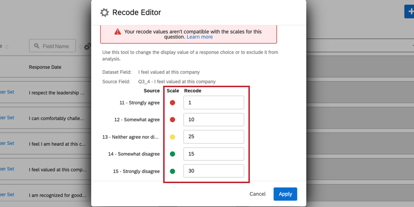 the recode editor for a question on a polarity scale. the recodes aren't in increasing or decreasing order, so an error is displayed