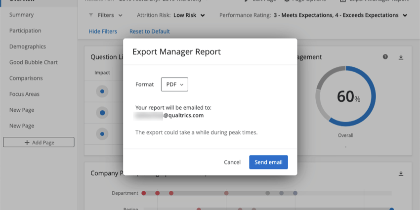 image of the export manager report pop-up. The screen lets you choose your file format and confirms the email address the report will send to.