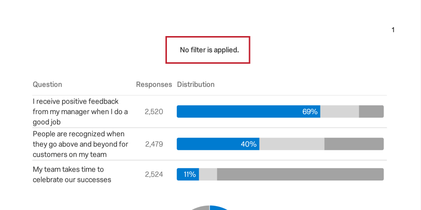 image of a filter summary on an exported report when no filters have been applied