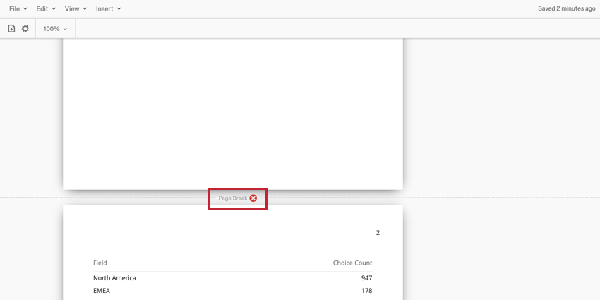 image of a page break in a report. the red x is next to the page break for removing it