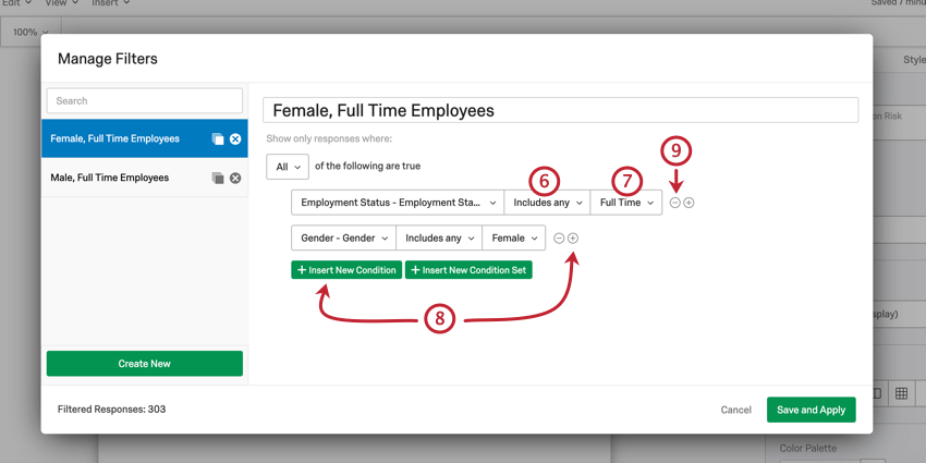 Image of a filter being created. The filter is set to only display data for full time female employees