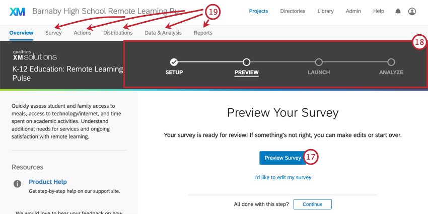 Center, blue preview survey button. Top, black bar where steps are listed. Above that, tabs of the project
