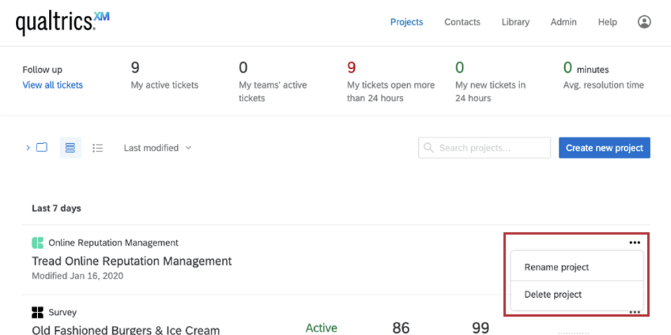 Projects page / account homepage. Clicking the dropdown next to an online reputation management project has the following options