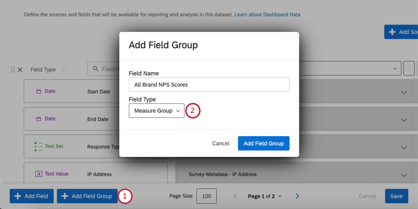Inside dashboard data page. Bottom-left is a blue add field group button. Opens a new window where you name the group and choose the type