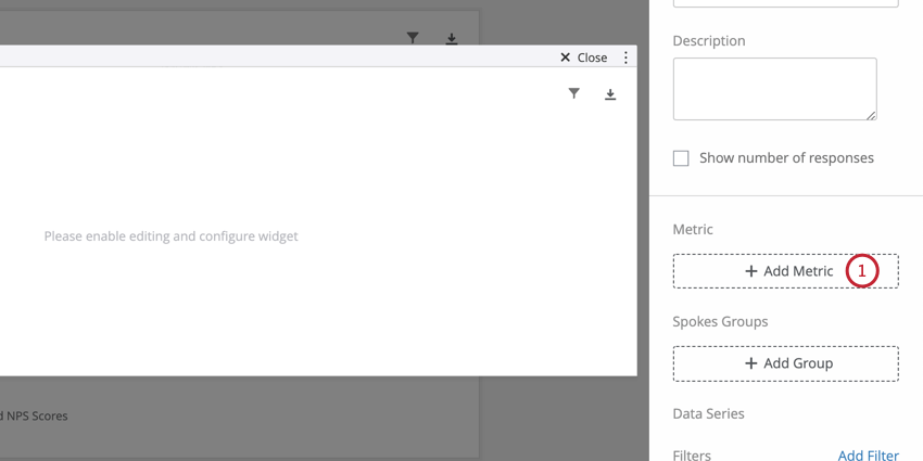 Double clicked into widget to reveal editing pane to right; inside here, an add metric button