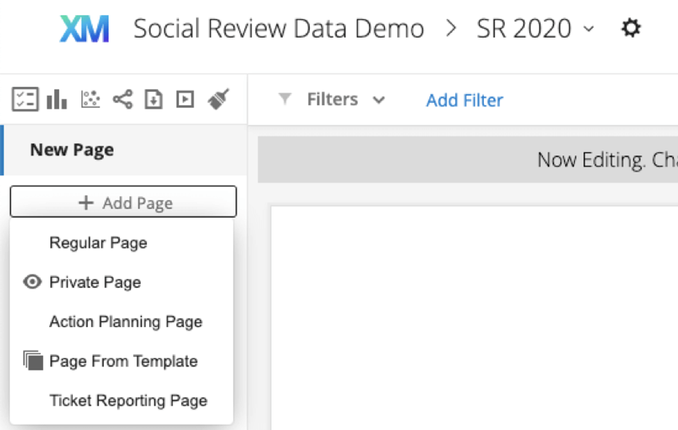 Add Page may be along the left of a dashboard or along the top, and will lead to a dropdown of options, including to add a page from a template