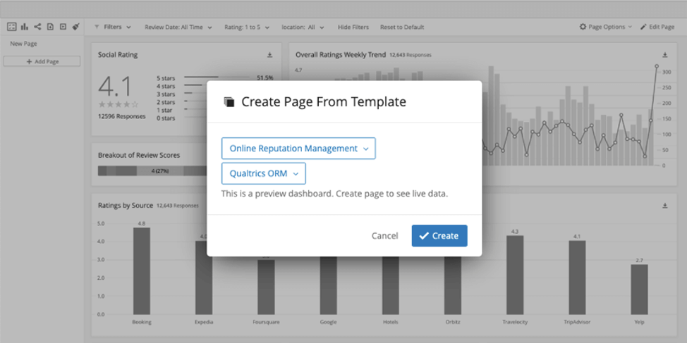 New window that opens has a field for the type of template. Once selected, this creates a new field where you select the exact data source. Proceed with the create button in blue, bottom right of the new window