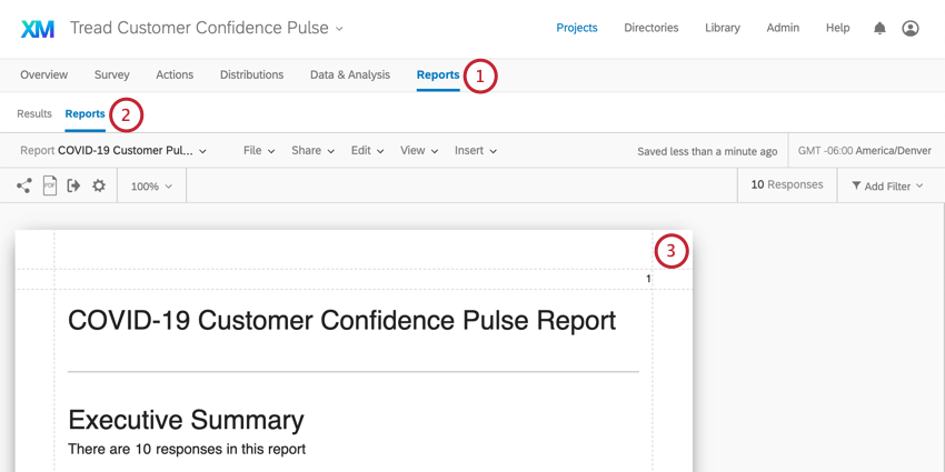Reports is last tab. Under that, another reports button, to right of Results. Screenshot shows the report