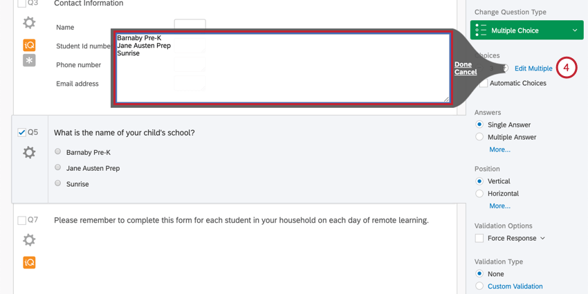 """Gray-bordered box expands from question editing pane on the right when you click the little blue """"edit multiple"""" text"""