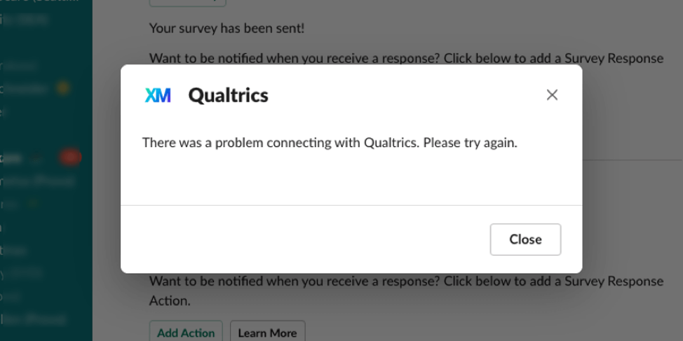 """an image of the """"there was an error connecting with Qualtrics. Please try again"""" error message"""