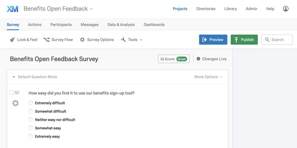 Survey called Benefits open feedback survey