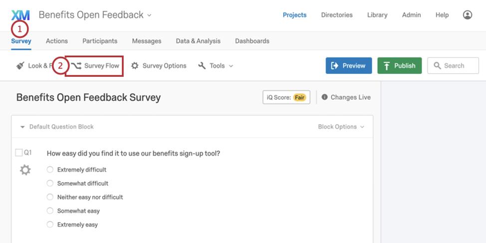 Survey flow button in toolbar along top of survey editor