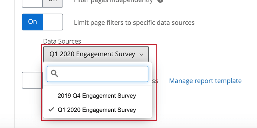 "the data source dropdown menu that appears after enabling ""limit page filters to specific data sources"""
