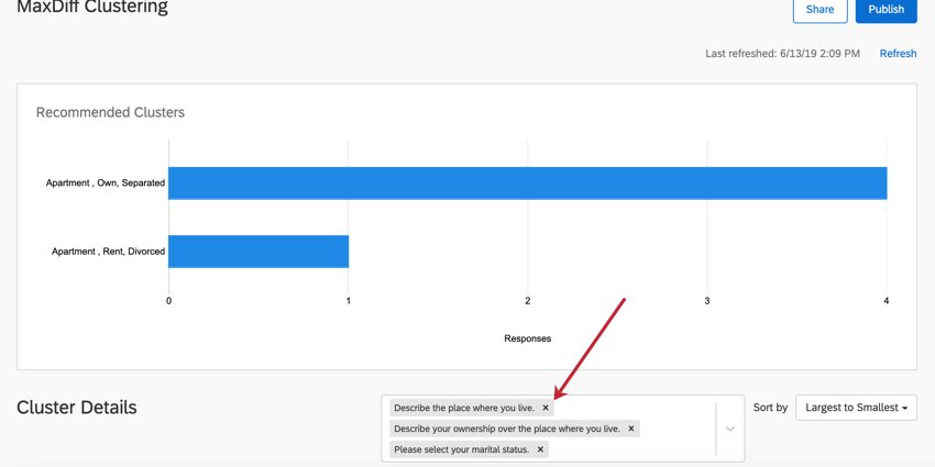 the clustering tab for a maxdiff project. click the x next to a clustering field to remove it