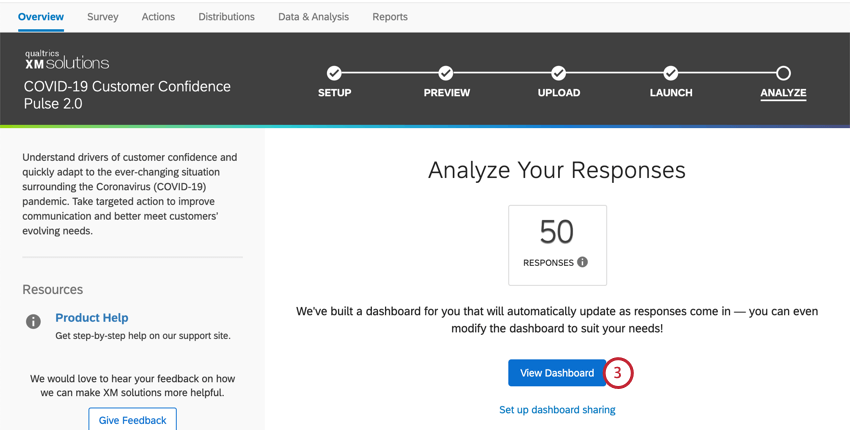 Number of responses collected, then below that a blue link to the dashboard