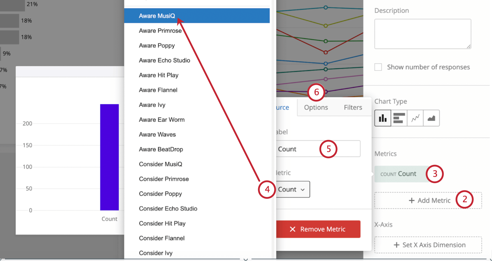 Double-clicked widget to reveal widget editing pane. Selecting Count reveals expanded menu that opens to left. This has a field for selecting metric and changing the label, then along the top of this menu are Options