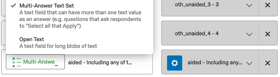 In data mapper, field type is set to multi answer text set for the aided field