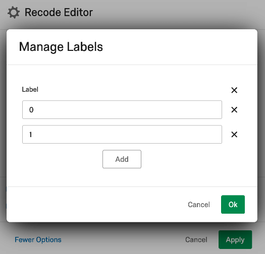 Recode editor window with 0 and 1 entered