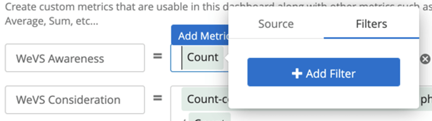 Clicking count reveals an expanded menu with a filter tab where you can click to add filter