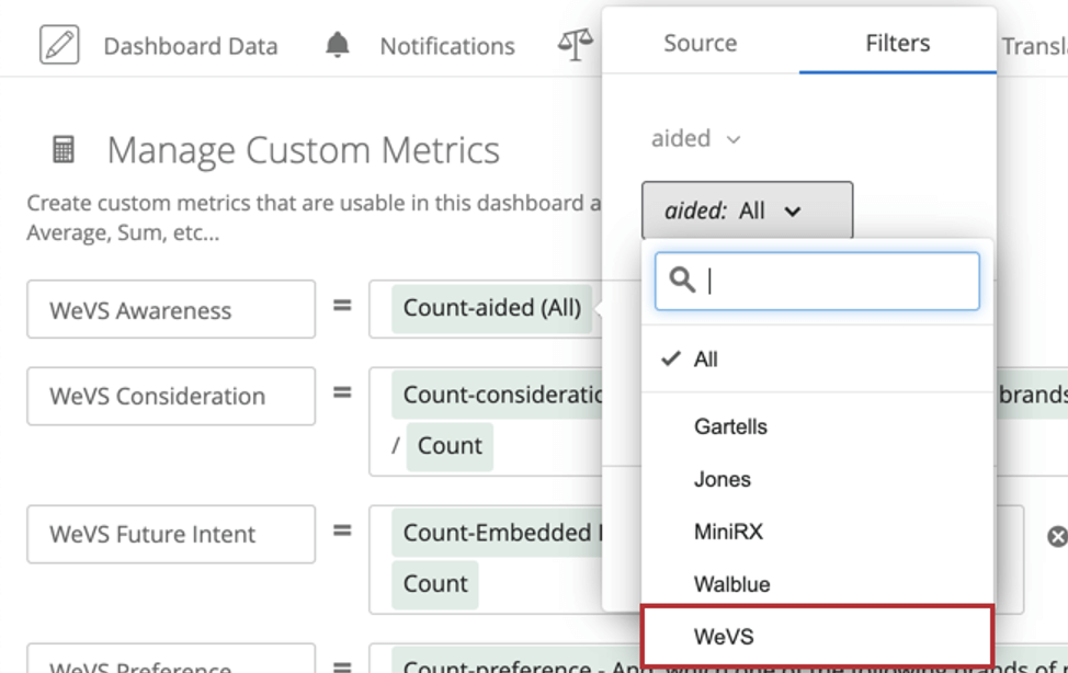 After field is chosen, use second dropdown that appears in the menu to select the brand