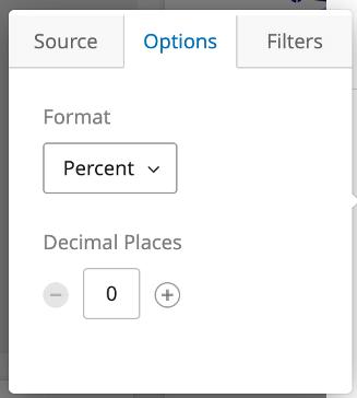 Options tab of metric menu