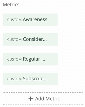 Metrics listed inside the widget editing pane - awareness, consideration, regular use, subscription