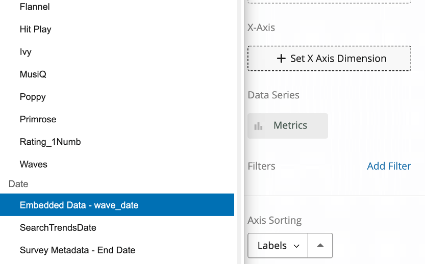 Clicking set X Axis dimension opens a menu to the left. We have highlighted the embedded data field for wave date