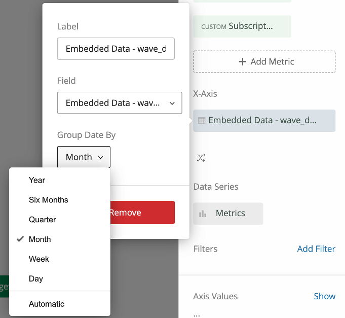 """When you click a date field, it'll open a menu that has a """"group dates by"""" option"""