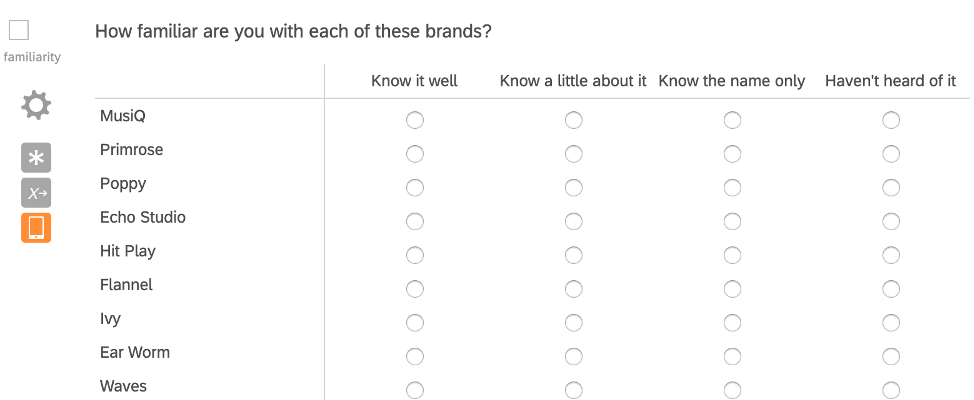 Same questions, but in a matrix table - brands along left, scale along the top