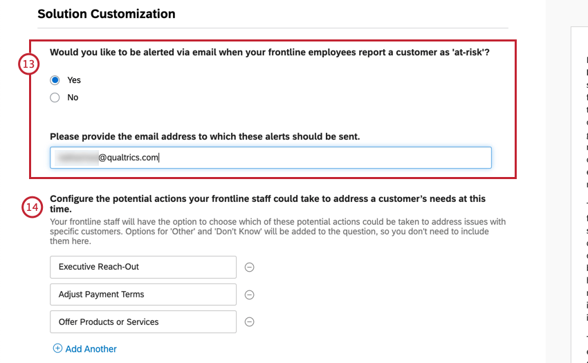 Multiple yes / no question, then text field, then open text fields for listing potential actions