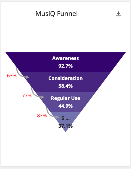 Purple funnel, with the following labels going down: awareness, consideration, regular use, subscription