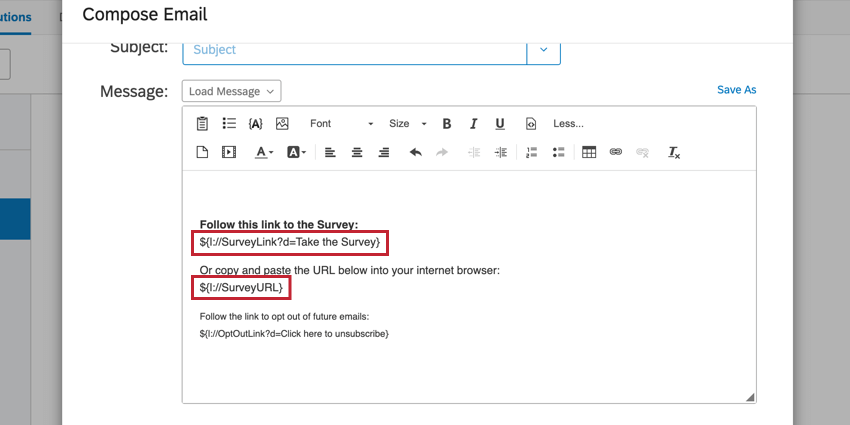 the email editor with piped text for survey links