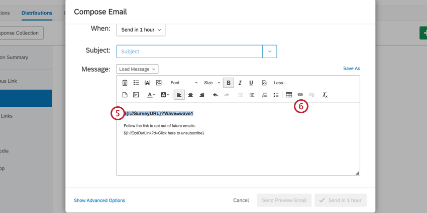 highlight your URL in your email editor and click the hyperlink button to hyperlink the URL