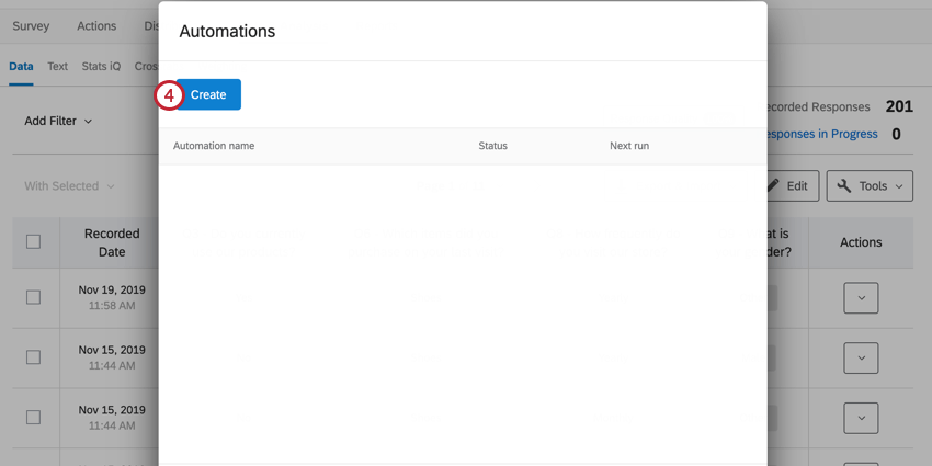 the create button in the automations window