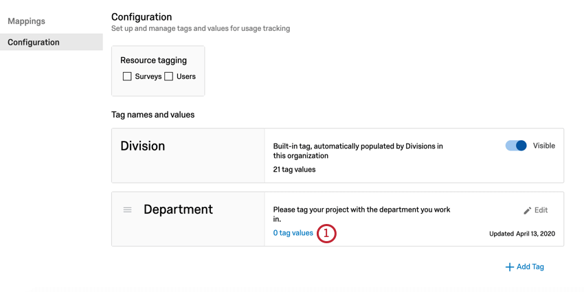 """click """"tag values"""" on the tag you want to import/export"""