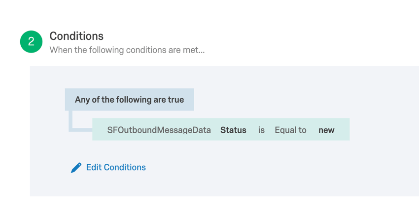 a condition for a salesforce workflow rule event set to only fire when the SFOUtboundMessageData field Status is equal to new