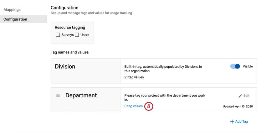 """click """"tag values"""" for tags you want to create values for"""
