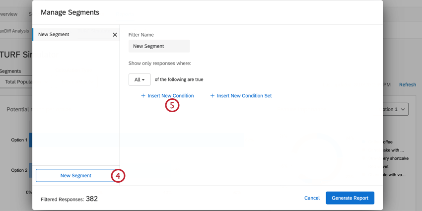 the insert a new condition button when creating a new segment