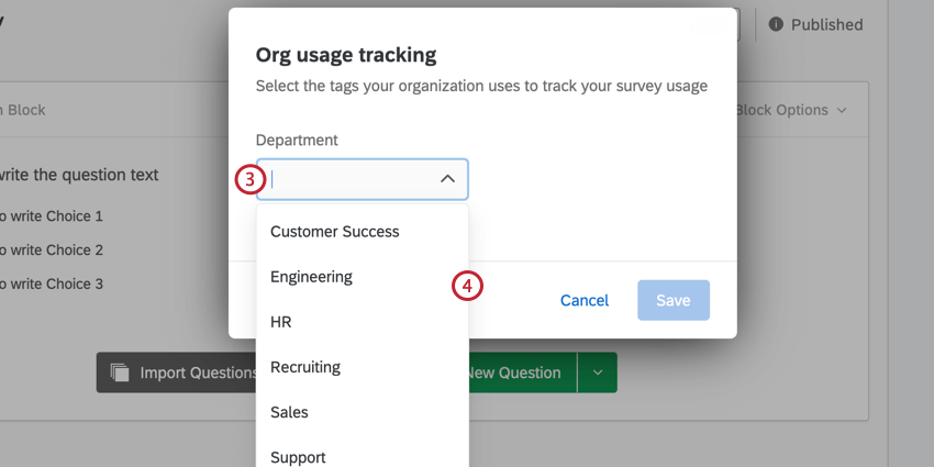 the dropdown menu for selecting a tag value