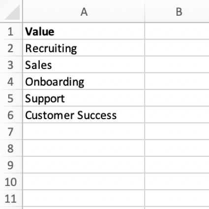 """a csv file for importing tag values. The file contains one column with the header """"value"""". each cell contains one value for the tag"""
