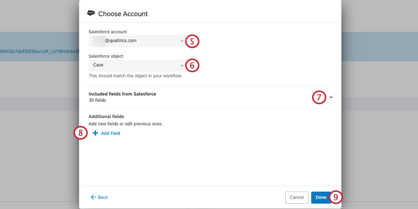 the screen for logging into your salesforce account via Qualtrics and to map salesforce fields into the workflow