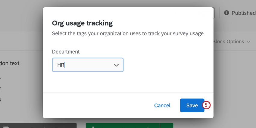 the window for adding a tag to a survey